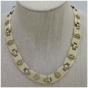 Jewelry - Goldtone Filigree and Enamel Hinged Necklace